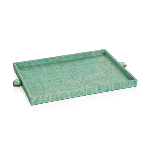 Raffia Palm Tray with Stone Accent - Jade - Large - Cece & Me - Home and Gifts