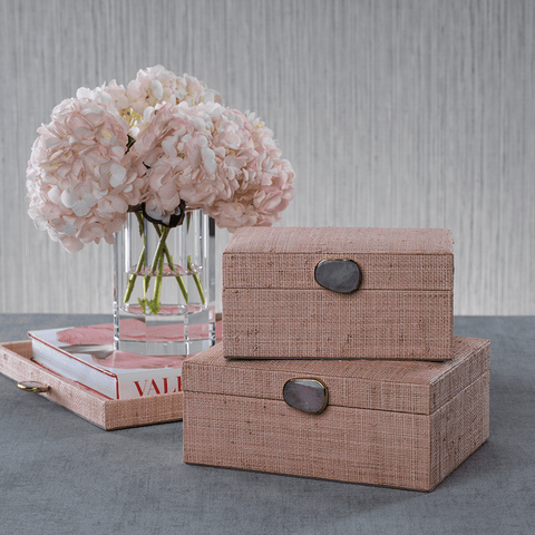 Raffia Palm Box with Stone Accent - Blush - Large - Cece & Me - Home and Gifts