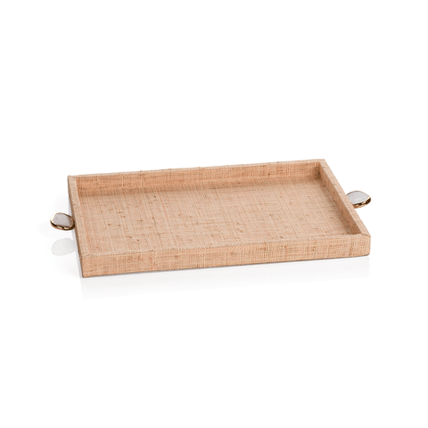Raffia Palm Tray with Stone Accent - Blush - Small - Cece & Me - Home and Gifts