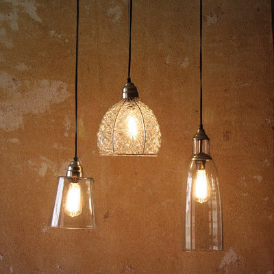 Glass Pendant Lamp with Brushed Silver Cap and Canopy - Cece & Me - Home and Gifts