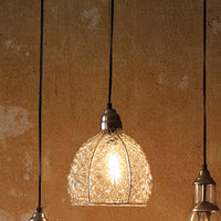 Glass Pendent Lamp with Brushed Silver Cap and Canopy - Cece & Me - Home and Gifts - 1