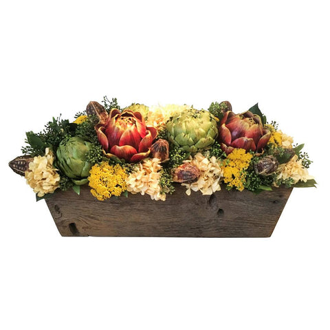 Natural Dough Bowl With Red Artichokes - Cece & Me - Home and Gifts