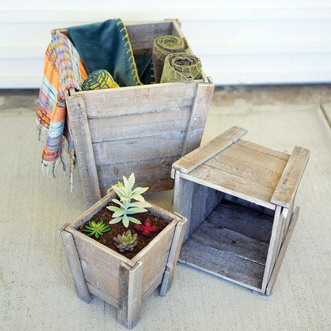 Natural Square Recycled Wood Planters (Set of 3) - Cece & Me - Home and Gifts