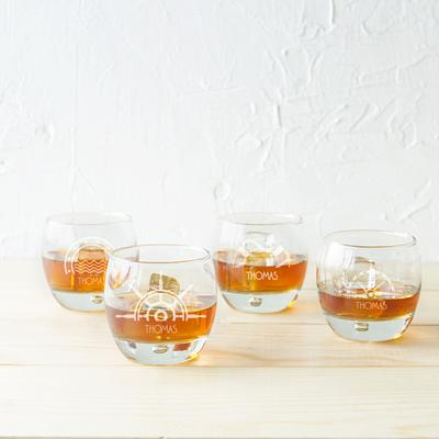 Image of Nautical Heavy based Whiskey Glasses - Cece & Me - Home and Gifts