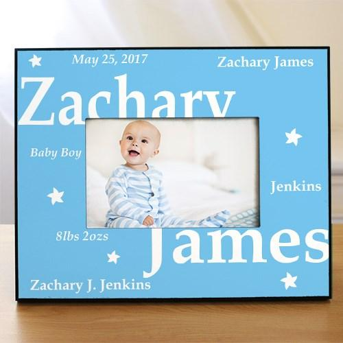New Baby Printed Frame ~ Blue - Cece & Me - Home and Gifts