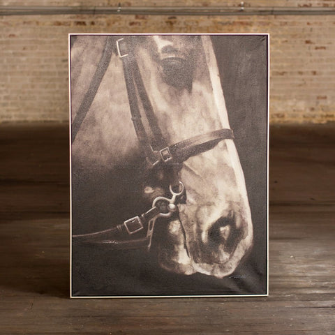 Black and White Side View Horse with Silver Frame - Oil Painting - Cece & Me - Home and Gifts