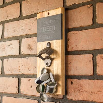 Open Beer Slate & Acacia Wall Mount Bottle Opener with Magnetic Cap Catcher - Cece & Me - Home and Gifts