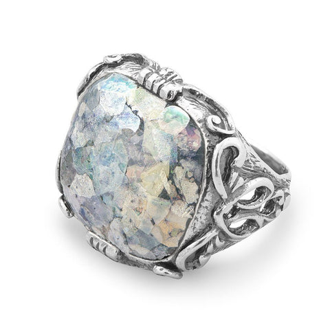 Image of Ornate Large Square Roman Glass Ring - Cece & Me - Home and Gifts
