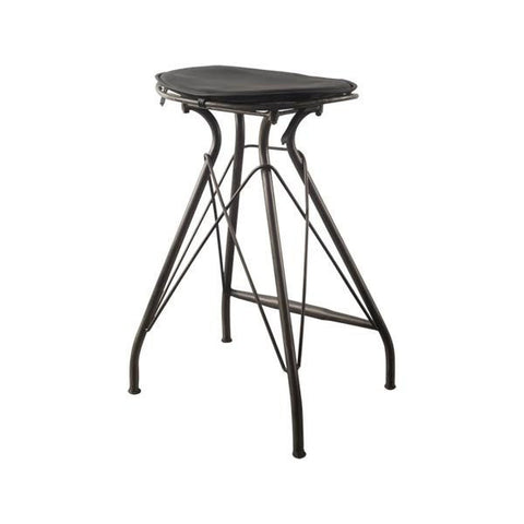 Image of Orville Bar Height Stool ~ Black Leather - Cece & Me - Home and Gifts