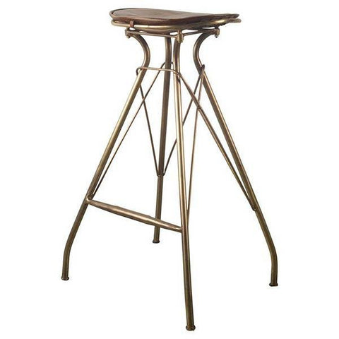 Orville Bar Height Stool ~ Brown Leather - Cece & Me - Home and Gifts