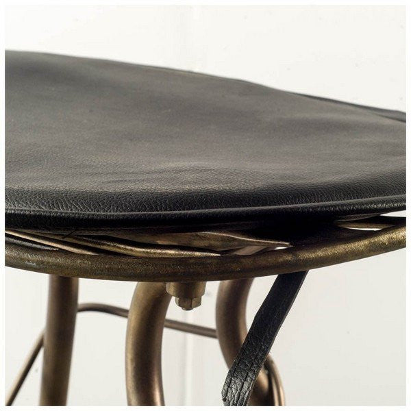Orville Counter Height Stool ~ Black Leather - Cece & Me - Home and Gifts