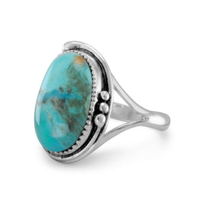 Oval Reconstituted Turquoise Floral Design Ring - Cece & Me - Home and Gifts