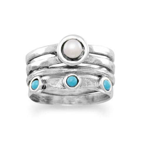 Image of Oxidized Cultured Freshwater Pearl and Reconstituted Turquoise Ring - Cece & Me - Home and Gifts
