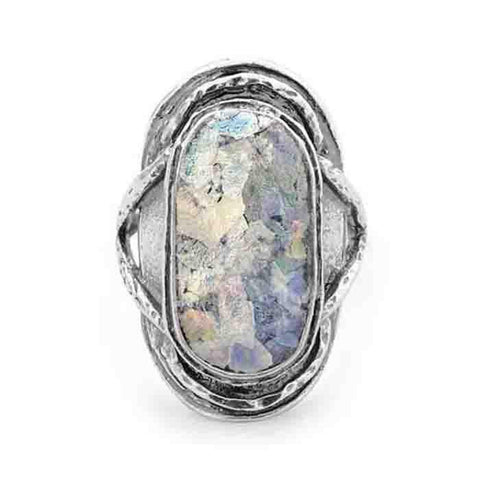 Image of Oxidized Oval Roman Glass Ring - Cece & Me - Home and Gifts