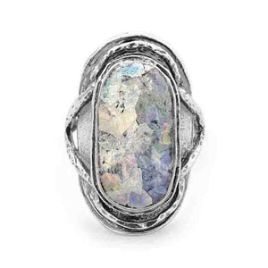 Oxidized Oval Roman Glass Ring - Cece & Me - Home and Gifts