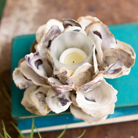 Oyster Shell Flower Votive Holder (Set of 4) - Cece & Me - Home and Gifts