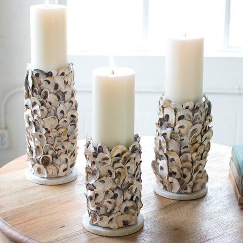 Image of Oyster Shell Pillar Candle Holders (Set of 3) - Cece & Me - Home and Gifts