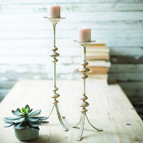 Painted Metal Candle Towers (Set of 2) - Cece & Me - Home and Gifts