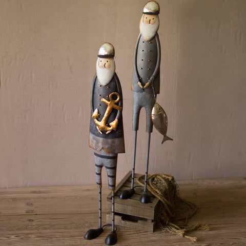 Painted Metal Fishermen (Set of 2) - Cece & Me - Home and Gifts