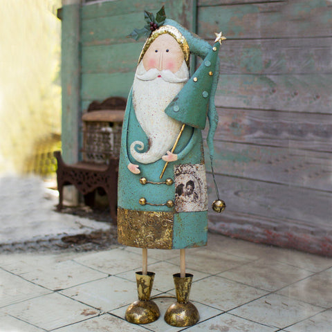 Image of Painted Metal Santa With Tree - Cece & Me - Home and Gifts
