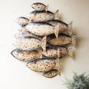 Painted Recycled Metal School of Fish Wall Decor - Cece & Me - Home and Gifts