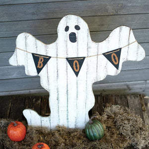 Painted Wooden Ghost With Boo Pennant - Cece & Me - Home and Gifts