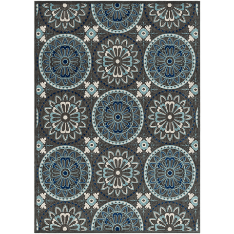 Image of Pentony Outdoor Rug ~ Navy/Aqua/Ivory - Cece & Me - Home and Gifts