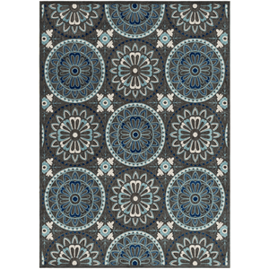 Pentony Outdoor Rug ~ Navy/Aqua/Ivory - Cece & Me - Home and Gifts