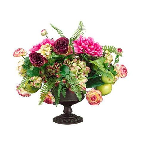 Peony/Rose/ Apple in Urn w/Handle Fuchsia Green - Cece & Me - Home and Gifts