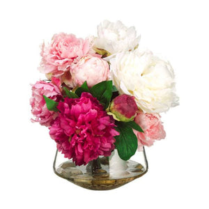Peony in Glass Vase ~ Pink & Cream - Cece & Me - Home and Gifts