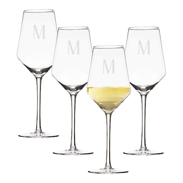 Personalized 14 oz. White Wine Estate Glasses (Set of 4) - Cece & Me - Home and Gifts
