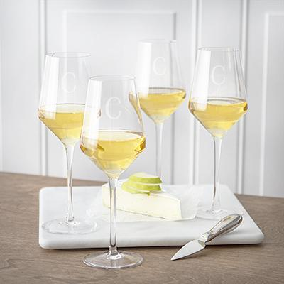 Image of Personalized 14 oz. White Wine Estate Glasses (Set of 4) - Cece & Me - Home and Gifts
