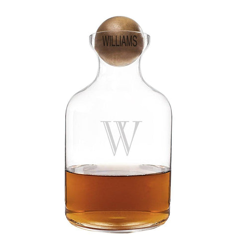 Personalized 56 oz. Glass Decanter with Wood Stopper - Cece & Me - Home and Gifts