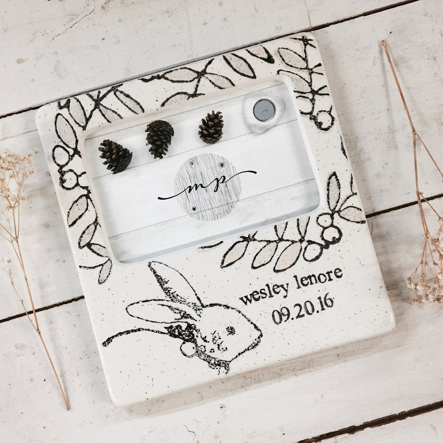 Personalization for baby kids personalized baby bunny photo frame cece me home and gifts negle Choice Image