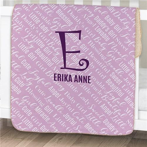 Personalized Baby Name Sherpa Baby Blanket ~ Purple - Cece & Me - Home and Gifts
