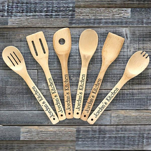 Image of Personalized Bamboo Kitchen Utensils (Set of 6) - Cece & Me - Home and Gifts
