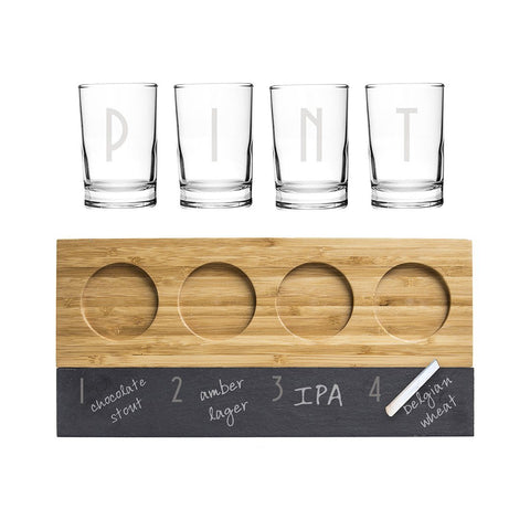Image of Personalized Bamboo & Slate Craft Beer Tasting Flight - Cece & Me - Home and Gifts