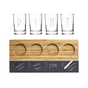 Personalized Bamboo & Slate Craft Beer Tasting Flight - Cece & Me - Home and Gifts