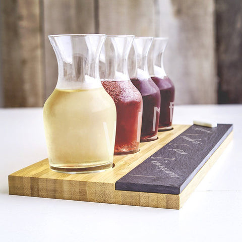 Personalized Bamboo & Slate Wine Tasting Flight - Cece & Me - Home and Gifts
