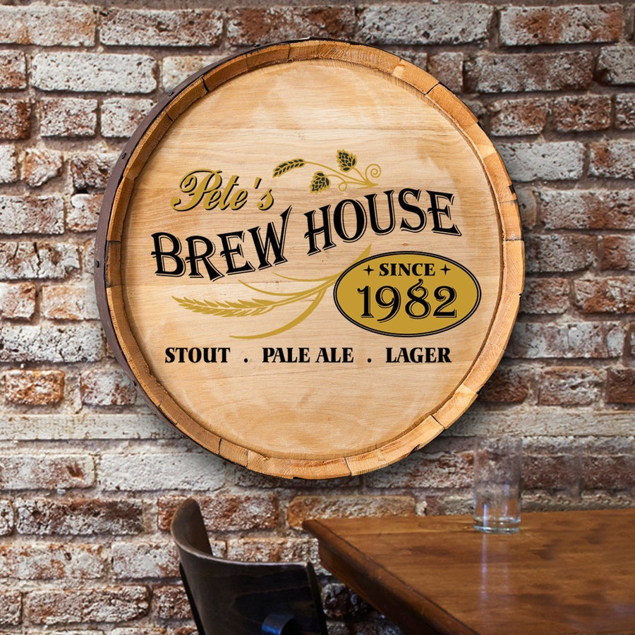 Personalized Barrel Top Sign ~ Brew House - Cece & Me - Home and Gifts