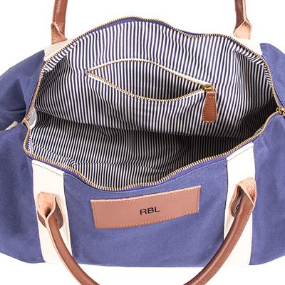 Image of Personalized Canvas & Leather Duffle Bag - Cece & Me - Home and Gifts
