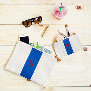 Personalized Blue Stitched Stripe Canvas Clutch Set - Cece & Me - Home and Gifts