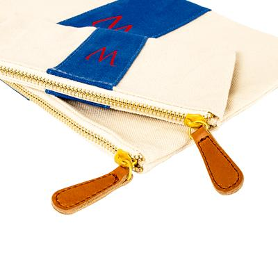 Image of Personalized Blue Stitched Stripe Canvas Clutch Set - Cece & Me - Home and Gifts