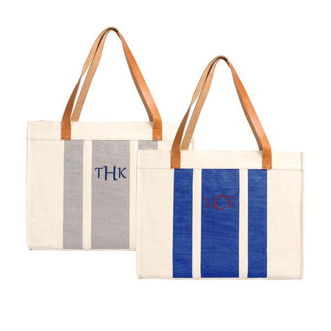 Image of Personalized Blue Stitched Stripe Canvas Tote with Leather Handles - Cece & Me - Home and Gifts