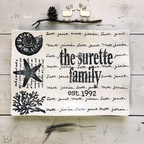 Image of Personalized Coastal Platter Flare ~  Family Name - Cece & Me - Home and Gifts