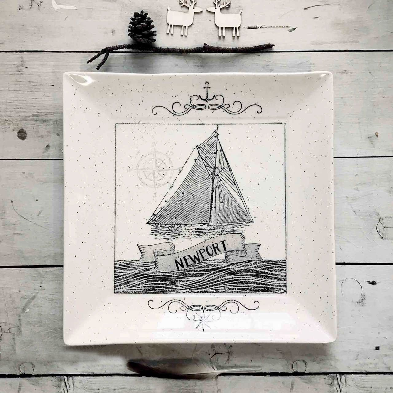 Personalized Coastal Sailboat Platter - Cece & Me - Home and Gifts