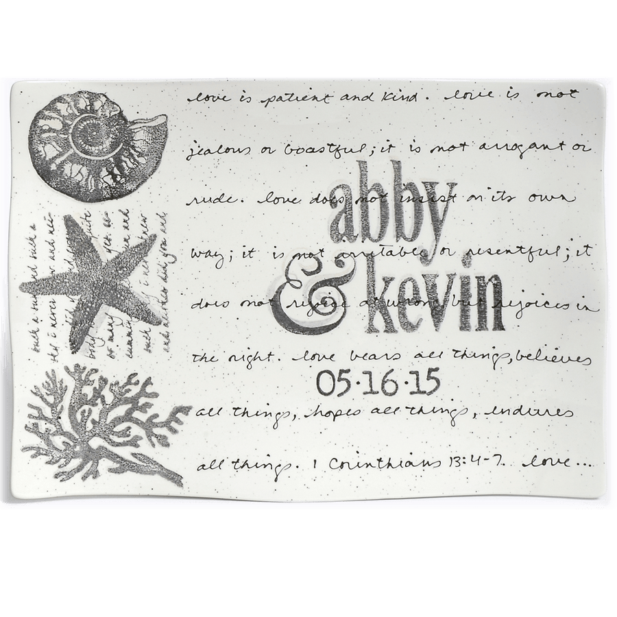 Personalized Coastal Wedding Invitation Platter ~ Flare - Cece & Me - Home and Gifts