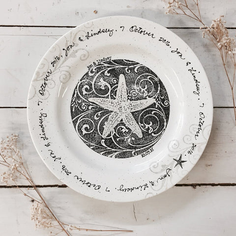 Personalized Coastal Wedding Plate - Cece & Me - Home and Gifts