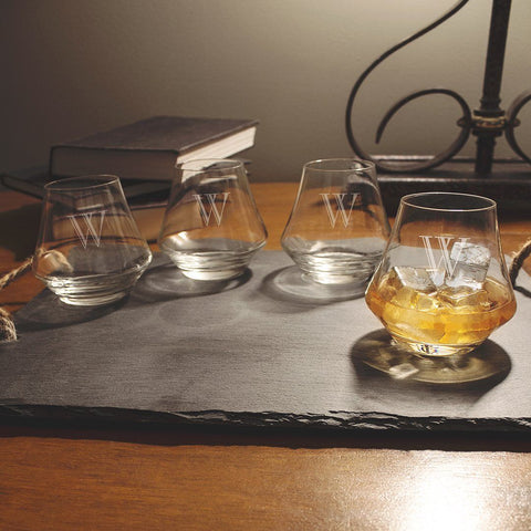 Personalized Contemporary Whiskey Glasses (Set of 4) - Cece & Me - Home and Gifts