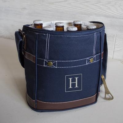Image of Personalized Craft Beer 6 Pack Bottle Cooler ~ Navy - Cece & Me - Home and Gifts